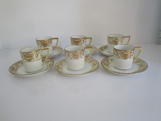 Lot 6 Hand-painted Nippon Demitasse Cups & Saucers w/Gilt Accent
