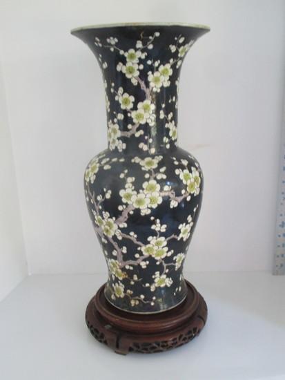 AWESOME Semi Porcelain Vase w/Cherry Blossom Design sits on Carved Base