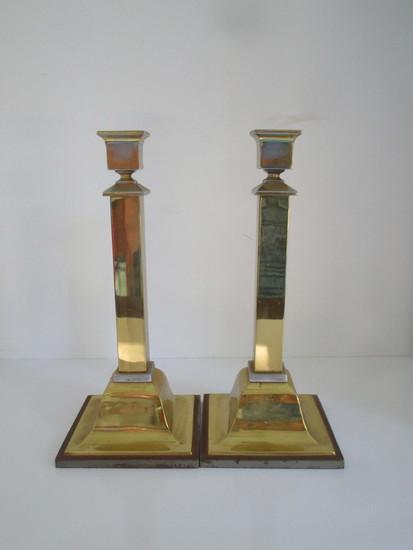 "Pair Vintage 11"" Bradley & Hubbard Brass Candlesticks"