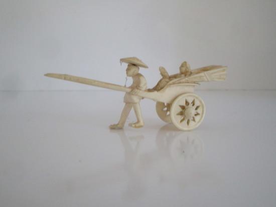 Pre-Ban Ivory Figurine Rickshaw Driver w/Passenger.  Missing Base