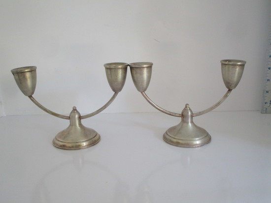 """Pair Duchin Created 5"""" Sterling Weighted Candlesticks"""