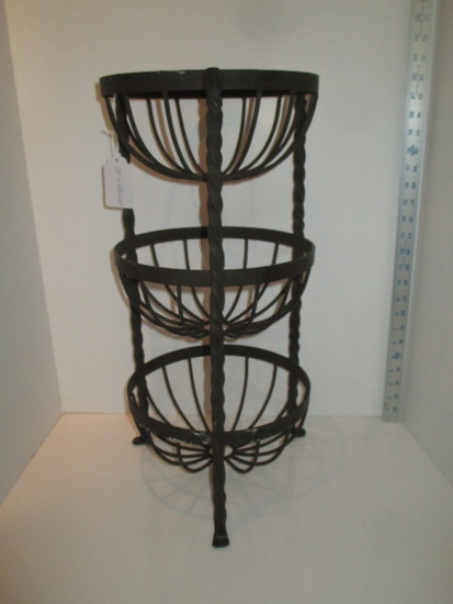 """3 Tiered Wrought Iron Basket - 22"""""""