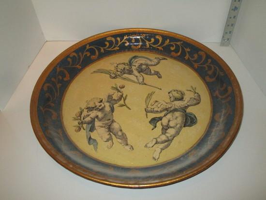 Decorative Round Tray w/ Cherub Design & Gilt Accent - Great Piece!