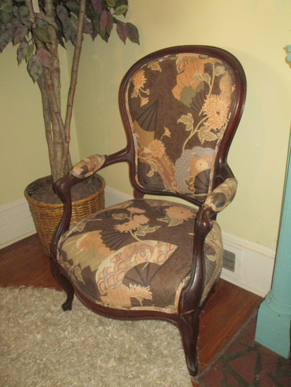 French Parlor Chair w/ Mahogany Arms & Legs. Stunning Upholstered Piece in Earth tones
