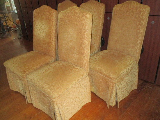 Five Gold Colored Upholstered Parson's Chairs