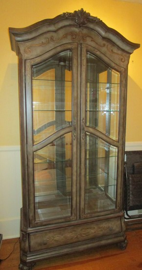 Howard Miller Lighted China/Display Cabinet w/ Glass Shelves & Mirrored Back