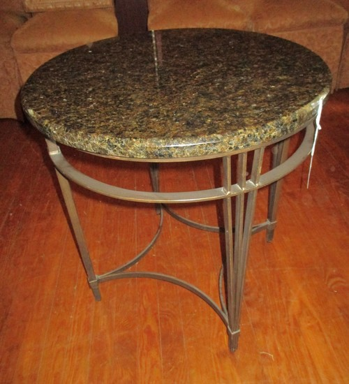 """Marble Top Round Table w/ Contemporary Metal Base 25"""" Tall X 25"""" Diam."""