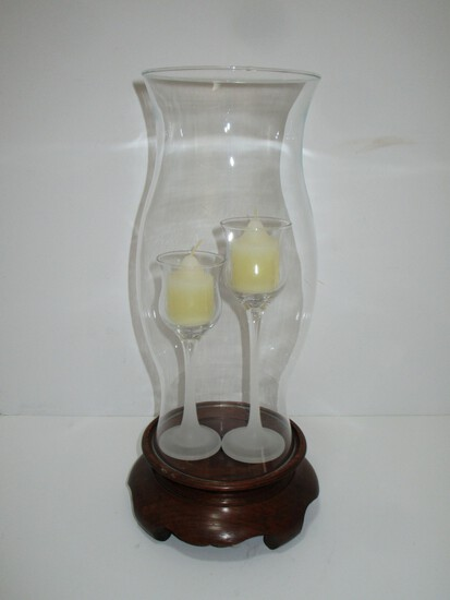 "Hurricane Globe on Pine Base - 14"" Tall includes 2 candleholders"