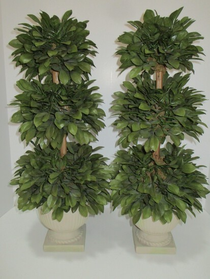 "Pair Faux Silk Topiaries in Resin Planters - 21"" Tall - accent pieces"