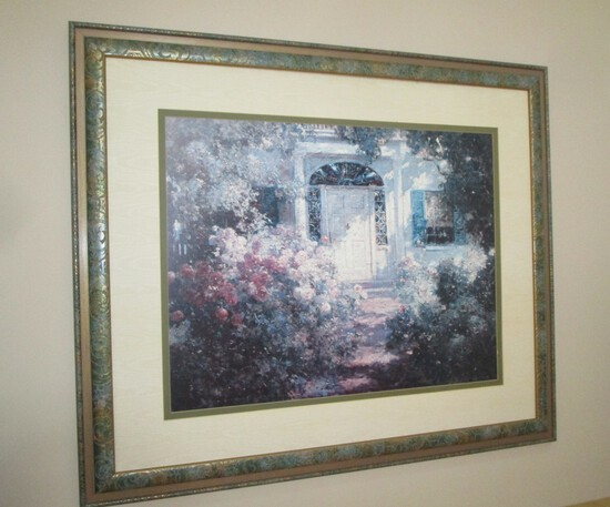 Framed Print of Floral Entry Way to House - no glass
