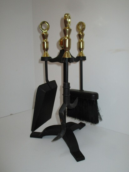 "Cast Iron & Brass Fireplace Tools - 16"" Tall"