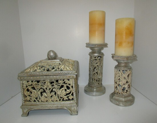 "Lot - Decorative Resin Accessories - Large Box w/ Lid 8.5"" sq. X 10"" high & Pair Candlesticks 8.5"" T"