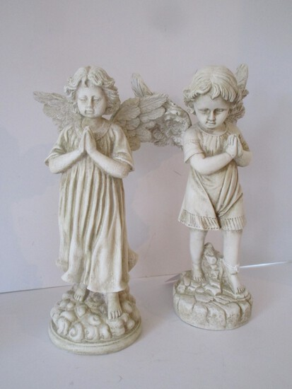 "Pair Resin Angels - Boy & Girl 22"" Tall"