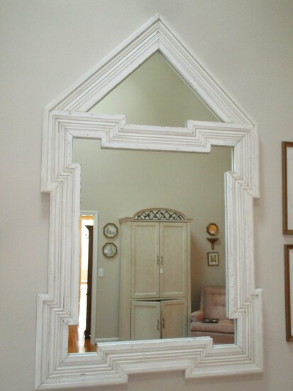 "Statement Piece Mirror - Hand Crafted with Molding from Old Farm House - 48"" W X 77"" Tall"