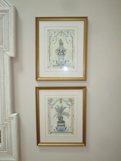 "Pair Palm & Pineapple Prints - Framed Size 22"" T by 19"" W"