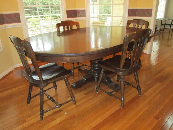 Ethan Allen Dark Pine Dining Table & 4 Matching Chairs - matches #34