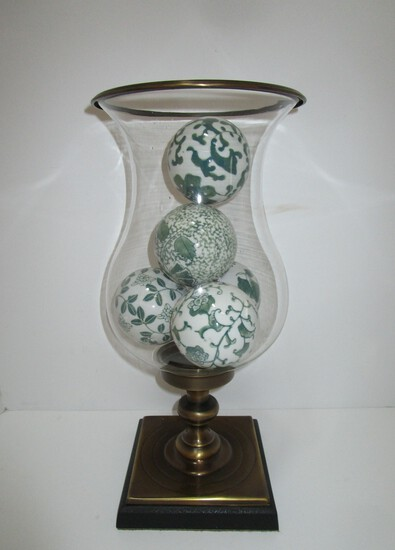 Beautiful Glass Globe on Brass Pedestal w/ Black Resin Base (5 Orbs)