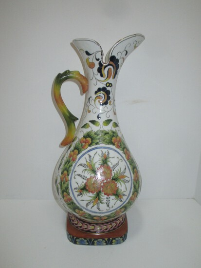 "Semi Porcelain Oriental Accents 18"" Tall Painted Ewer"