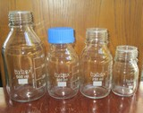 4 Capable Round Glass Media-Storage Bottles for Lab
