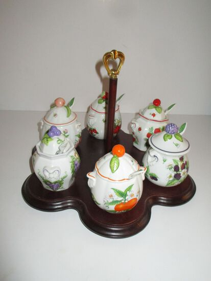 7 Piece Lenox Fine Porcelain Jam Set [all with porcelain spoons]on Wooden Stand - Sweet!