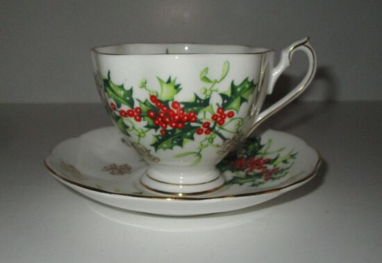 """Queen Anne """"Yuletide"""" English Porcelain Cup & Saucer"""