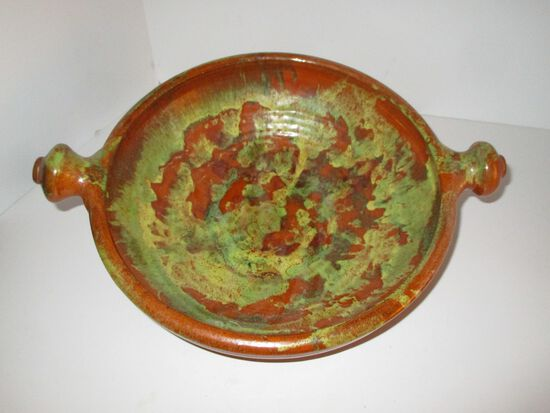 "Vintage Red Ware Southwestern Painted Bowl w/ Knob Handles - 10.5"""