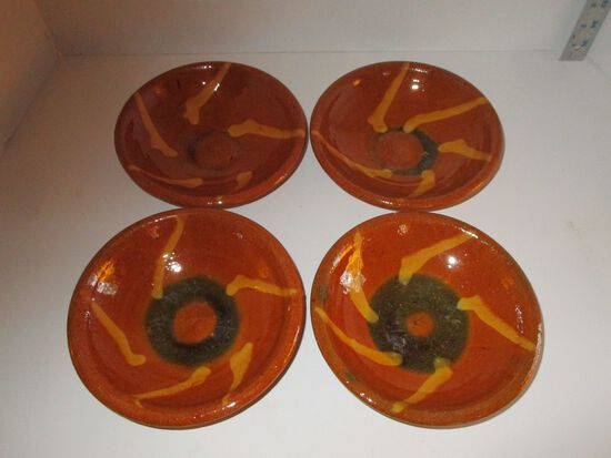 """Vintage Red Ware Southwestern Painted Bowls - 7"""""""