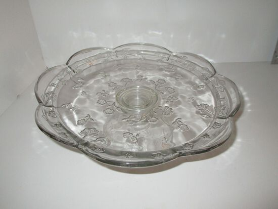 "12"" Pressed Glass Pedestal Cake Plate w/ Floral Design"