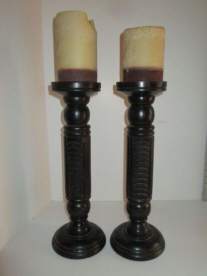 "Pair 17"" Nate Berkus Rosewood Candlesticks w/ Candles, Made in India"