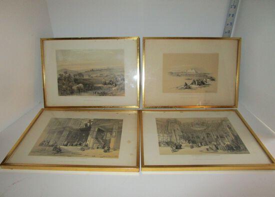 "4 David Roberts, RA Prints - Gueutcerian Freres - 12"" X 8.5"" framed size - some foxing"