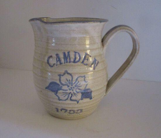 "6"" Salt Glaze Milk Picture Painted Blue w/ CAMDEN,  Picture of Dogwood - 1733"