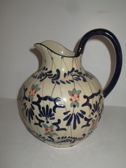 Beautiful Bulbous Pitcher w/ Cobalt Handle & Enameling by Expressions