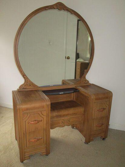 Blonde Mahogany Waterfall Vanity Dresser w/ Large Round Mirror & 4 Drawers