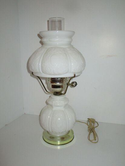 "Vintage Boudoir Lamp  - 16.5"" Tall w/ Milk Glass Font & Globe"