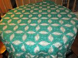 Vintage Emerald Green Circle Stitch Table Cloth - approx. 92