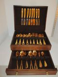 42 Pieces Gold Plated Flatware in Wooden Chest - Dinner  Salad Forks, Knives, Soup & Tea Spoons,