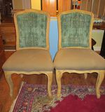 Pair Blonde Mahogany Side Chairs w/ Upholstered Seats & Backs