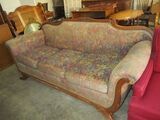 Duncan Phyfe 3 Cushion Sofa - Rose Carving on Back - Needs Reupholstered - Worn