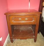 One Drawer Mahogany Night Stand w/ Bottom Shelf - wear