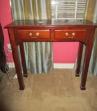 2 Drawer Mahogany Entry Table - needs refinishing (something stuck to top)