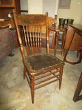 Pressed Back Spindle Side Chair w/ Leather Bradded Seat - Chip on Back