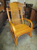 Light Oak Rocker w/ Slat Back & Seat & Bentwood Arms - very nice piece!