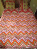 Full/Queen Colorful Reversible Quilted Coverlet w/ 2 Pillow Shams & pair decorative pillows