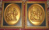 Pair Early Chalkware Plaques in Bas Relief - Grecian Garden Scene - 15