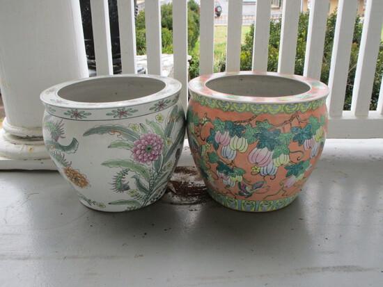 Pair - Fishbowl Planters - Peach, White, Green