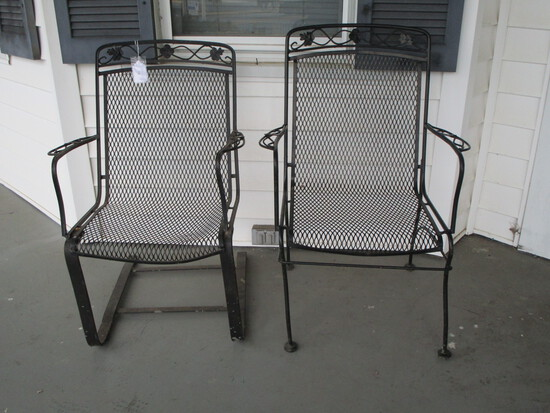 Pair of Wrought Iron Patio Chairs - 1 Stationary & 1 Spring