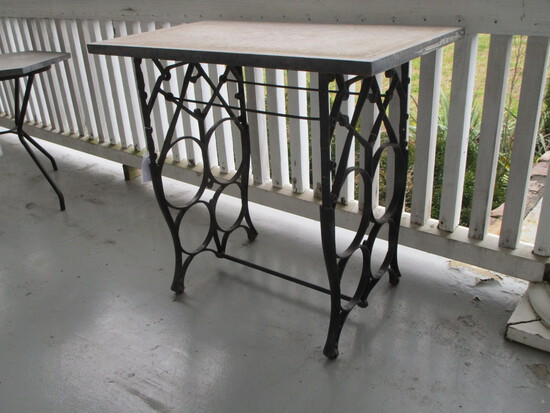 Wrought Iron Base on Wheels w/ Slate Table Top