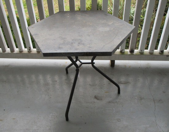 Small Black Wrought Iron  Hexagon Shaped Table w/ Slate Top