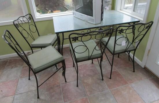 Lot - Retro Wrought Iron Glass Top Table w/ 4 Matching  Chairs w/ Cushion Seats Daisy Motif