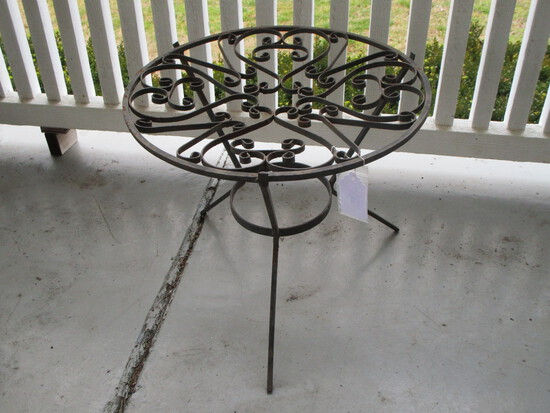 Round Small Wrought Iron Table - Leans a little